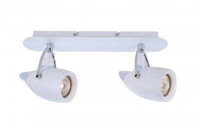 Светильник настенный бра Arte lamp A4004AP-2WH AtlantisДвойные<br><br><br>Тип товара: Светильник настенный бра<br>Тип цоколя: GU10<br>Количество ламп: 2<br>MAX мощность ламп, Вт: 50<br>Размеры: H17xW9xL37<br>Цвет арматуры: белый
