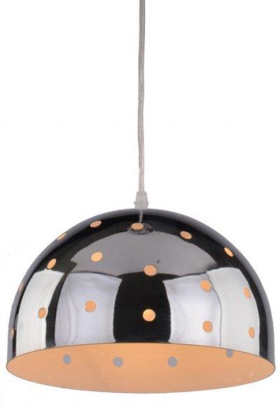 Светильник подвесной Arte lamp A4084SP-1CC LUCIDOОдиночные<br><br><br>Тип товара: Светильник подвесной<br>Тип лампы: Накаливания / энергосбережения / светодиодная<br>Тип цоколя: E27<br>Количество ламп: 1<br>MAX мощность ламп, Вт: 40<br>Размеры: H18xW25xL25+шн/цп100<br>Цвет арматуры: серебристый