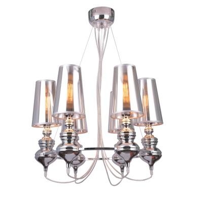 A4280LM-6CC Arte lamp СветильникПодвесные<br><br><br>Крепление: Планка<br>Тип лампы: Накаливания / энергосбережения / светодиодная<br>Тип цоколя: E27<br>Количество ламп: 6<br>MAX мощность ламп, Вт: 40W<br>Диаметр, мм мм: 650<br>Размеры: D900*H1200<br>Длина, мм: 650<br>Высота, мм: 1000<br>Цвет арматуры: Серебристый хром<br>Общая мощность, Вт: 40W
