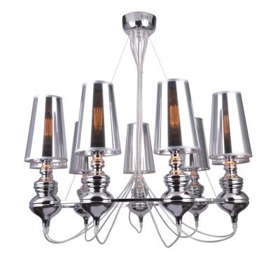 A4280LM-9CC Arte lamp СветильникПодвесные<br><br><br>S освещ. до, м2: 18<br>Крепление: Планка<br>Тип лампы: Накаливания / энергосбережения / светодиодная<br>Тип цоколя: E27<br>Цвет арматуры: Серебристый хром<br>Количество ламп: 9<br>Диаметр, мм мм: 850<br>Размеры: D1200*H1200<br>Длина, мм: 850<br>Высота, мм: 1000<br>MAX мощность ламп, Вт: 40W<br>Общая мощность, Вт: 40W