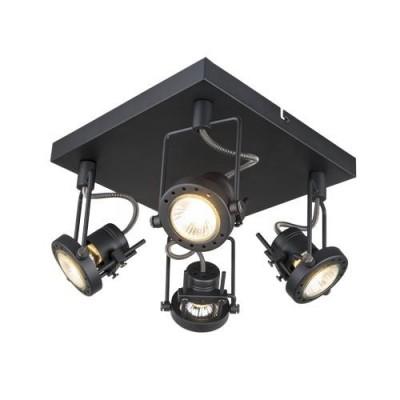A4300PL-4BK Arte lamp СветильникС 4 лампами<br><br><br>Тип цоколя: GU10<br>Количество ламп: 4<br>MAX мощность ламп, Вт: 50W<br>Диаметр, мм мм: 240<br>Длина, мм: 240<br>Высота, мм: 150<br>Цвет арматуры: ЧЕРНЫЙ<br>Общая мощность, Вт: 50W