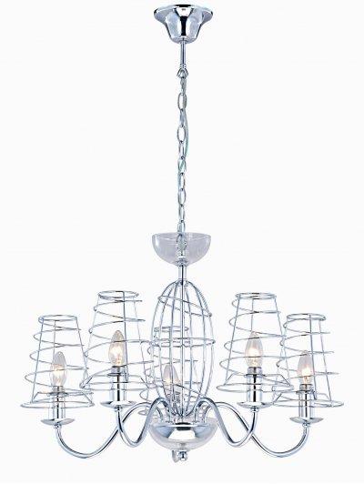 Светильник Arte lamp A4320LM-5CC CageПодвесные<br>Компания «Светодом» предлагает широкий ассортимент люстр от известных производителей. Представленные в нашем каталоге товары выполнены из современных материалов и обладают отличным качеством. Благодаря широкому ассортименту Вы сможете найти у нас люстру под любой интерьер. Мы предлагаем как классические варианты, так и современные модели, отличающиеся лаконичностью и простотой форм.  Стильная люстра Arte lamp A4320LM-5CC станет украшением любого дома. Эта модель от известного производителя не оставит равнодушным ценителей красивых и оригинальных предметов интерьера. Люстра Arte lamp A4320LM-5CC обеспечит равномерное распределение света по всей комнате. При выборе обратите внимание на характеристики, позволяющие приобрести наиболее подходящую модель. Купить понравившуюся люстру по доступной цене Вы можете в интернет-магазине «Светодом».<br><br>Установка на натяжной потолок: Да<br>S освещ. до, м2: 10<br>Крепление: Крюк<br>Тип лампы: накал-я - энергосбер-я<br>Тип цоколя: E14<br>Количество ламп: 5<br>MAX мощность ламп, Вт: 40<br>Диаметр, мм мм: 680<br>Высота, мм: 450<br>Цвет арматуры: серебристый