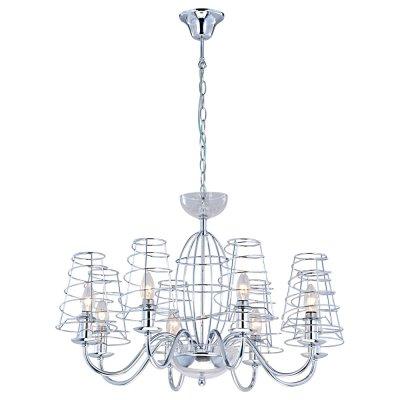 Светильник Arte lamp A4320LM-8CC CageПодвесные<br>Компания «Светодом» предлагает широкий ассортимент люстр от известных производителей. Представленные в нашем каталоге товары выполнены из современных материалов и обладают отличным качеством. Благодаря широкому ассортименту Вы сможете найти у нас люстру под любой интерьер. Мы предлагаем как классические варианты, так и современные модели, отличающиеся лаконичностью и простотой форм.  Стильная люстра Arte lamp A4320LM-8CC станет украшением любого дома. Эта модель от известного производителя не оставит равнодушным ценителей красивых и оригинальных предметов интерьера. Люстра Arte lamp A4320LM-8CC обеспечит равномерное распределение света по всей комнате. При выборе обратите внимание на характеристики, позволяющие приобрести наиболее подходящую модель. Купить понравившуюся люстру по доступной цене Вы можете в интернет-магазине «Светодом».<br><br>Установка на натяжной потолок: Да<br>S освещ. до, м2: 16<br>Крепление: Крюк<br>Тип лампы: накал-я - энергосбер-я<br>Тип цоколя: E14<br>Количество ламп: 8<br>MAX мощность ламп, Вт: 40<br>Диаметр, мм мм: 720<br>Высота, мм: 470<br>Цвет арматуры: серебристый