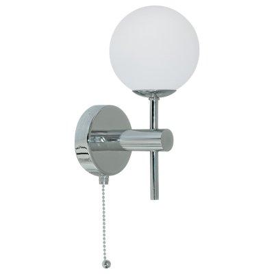 Светильник бра Arte Lamp A4444AP-1CC AquaМодерн<br><br><br>S освещ. до, м2: 3<br>Тип лампы: галогенная / LED-светодиодная<br>Тип цоколя: G9<br>Количество ламп: 1<br>Ширина, мм: 100<br>MAX мощность ламп, Вт: 40<br>Диаметр, мм мм: 150<br>Высота, мм: 210<br>Цвет арматуры: серебристый