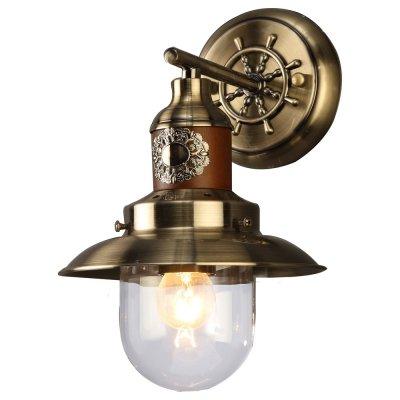 Светильник Arte lamp A4524AP-1AB SailorМорской стиль<br><br><br>Тип лампы: Накаливания / энергосбережения / светодиодная<br>Тип цоколя: E27<br>Цвет арматуры: бронзовый<br>Количество ламп: 1<br>Ширина, мм: 180<br>Длина, мм: 200<br>Высота, мм: 280<br>MAX мощность ламп, Вт: 60