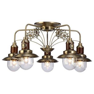 Светильник Arte lamp A4524PL-5AB SailorПотолочные<br>Компания «Светодом» предлагает широкий ассортимент люстр от известных производителей. Представленные в нашем каталоге товары выполнены из современных материалов и обладают отличным качеством. Благодаря широкому ассортименту Вы сможете найти у нас люстру под любой интерьер. Мы предлагаем как классические варианты, так и современные модели, отличающиеся лаконичностью и простотой форм. <br>Стильная люстра украшенная маленькими штурвальчиками Arte lamp A4524PL-5AB станет украшением любого дома. Эта модель от известного производителя не оставит равнодушным ценителей красивых и оригинальных предметов интерьера. Люстра Arte lamp A4524PL-5AB обеспечит равномерное распределение света по всей комнате. При выборе обратите внимание на характеристики, позволяющие приобрести наиболее подходящую модель. <br>Купить понравившуюся люстру по доступной цене Вы можете в интернет-магазине «Светодом».<br><br>Установка на натяжной потолок: Да<br>S освещ. до, м2: 15<br>Крепление: Планка<br>Тип лампы: накал-я - энергосбер-я<br>Тип цоколя: E27<br>Цвет арматуры: бронзовый<br>Количество ламп: 5<br>Диаметр, мм мм: 720<br>Высота, мм: 380<br>MAX мощность ламп, Вт: 60