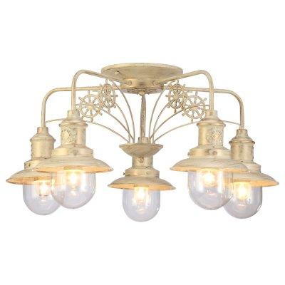 Светильник Arte lamp A4524PL-5WG SailorПотолочные<br>Компания «Светодом» предлагает широкий ассортимент люстр от известных производителей. Представленные в нашем каталоге товары выполнены из современных материалов и обладают отличным качеством. Благодаря широкому ассортименту Вы сможете найти у нас люстру под любой интерьер. Мы предлагаем как классические варианты, так и современные модели, отличающиеся лаконичностью и простотой форм. <br>Стильная люстра Arte lamp A4524PL-5WG станет украшением любого дома. Эта модель от известного производителя не оставит равнодушным ценителей красивых и оригинальных предметов интерьера. Люстра Arte lamp A4524PL-5WG обеспечит равномерное распределение света по всей комнате. При выборе обратите внимание на характеристики, позволяющие приобрести наиболее подходящую модель. <br>Купить понравившуюся люстру по доступной цене Вы можете в интернет-магазине «Светодом».<br><br>Установка на натяжной потолок: Да<br>S освещ. до, м2: 15<br>Крепление: Планка<br>Тип лампы: накал-я - энергосбер-я<br>Тип цоколя: E27<br>Количество ламп: 5<br>MAX мощность ламп, Вт: 60<br>Диаметр, мм мм: 720<br>Высота, мм: 380<br>Цвет арматуры: бежевый с золотистой патиной