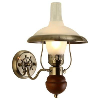 Светильник бра керосинка Arte lamp A4533AP-1AB CapannaРустика<br>Настенный светильник бра в виде керосиновой лампы Arte lamp A4533AP-1AB оригинального исполнени окунет Ваш интерьер в мир средневековь и заставит прочувствовать аристократичность той похи<br><br>Тип лампы: накал- - нергосбер-<br>Тип цокол: E27<br>Количество ламп: 1<br>Ширина, мм: 220<br>MAX мощность ламп, Вт: 60<br>Длина, мм: 300<br>Высота, мм: 360<br>Цвет арматуры: бронзовый