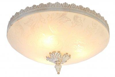 Светильник Arte lamp A4541PL-3WG CROWNПотолочные<br><br><br>Установка на натяжной потолок: Ограничено<br>S освещ. до, м2: 9<br>Крепление: Планка<br>Тип товара: Светильник<br>Тип лампы: накал-я - энергосбер-я<br>Тип цоколя: E27<br>Количество ламп: 3<br>MAX мощность ламп, Вт: 60<br>Диаметр, мм мм: 410<br>Высота, мм: 200<br>Цвет арматуры: белый с золотистой патиной