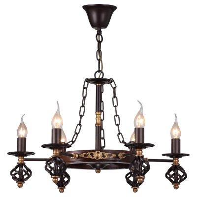 Люстра кованная Arte lamp A4550LM-6CK CartwheelПодвесные<br>Компания «Светодом» предлагает широкий ассортимент люстр от известных производителей. Представленные в нашем каталоге товары выполнены из современных материалов и обладают отличным качеством. Благодаря широкому ассортименту Вы сможете найти у нас люстру под любой интерьер. Мы предлагаем как классические варианты, так и современные модели, отличающиеся лаконичностью и простотой форм. <br>Стильная люстра Arte lamp A4550LM-6CK станет украшением любого дома. Эта модель от известного производителя не оставит равнодушным ценителей красивых и оригинальных предметов интерьера. Люстра Arte lamp A4550LM-6CK обеспечит равномерное распределение света по всей комнате. При выборе обратите внимание на характеристики, позволяющие приобрести наиболее подходящую модель. <br>Купить понравившуюся люстру по доступной цене Вы можете в интернет-магазине «Светодом». Мы предлагаем доставку не только по Москве и Екатеринбурге, но и по всей России.<br><br>Установка на натяжной потолок: Да<br>S освещ. до, м2: 18<br>Крепление: Крюк<br>Тип лампы: Накаливания / энергосбережения / светодиодная<br>Тип цоколя: E14<br>Количество ламп: 6<br>MAX мощность ламп, Вт: 60<br>Диаметр, мм мм: 610<br>Высота, мм: 410<br>Цвет арматуры: коричневый