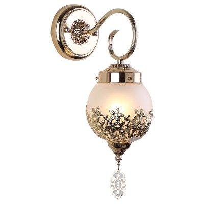 Светильник бра Arte lamp A4552AP-1GO MoroccanaФлористика<br><br><br>Тип лампы: Накаливания / энергосбережения / светодиодная<br>Тип цоколя: E14<br>Количество ламп: 1<br>Ширина, мм: 130<br>MAX мощность ламп, Вт: 40<br>Длина, мм: 220<br>Высота, мм: 380<br>Цвет арматуры: золотой