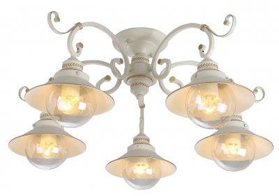 Светильник Arte lamp A4577PL-5WG GRAZIOSOПотолочные<br>Компания «Светодом» предлагает широкий ассортимент люстр от известных производителей. Представленные в нашем каталоге товары выполнены из современных материалов и обладают отличным качеством. Благодаря широкому ассортименту Вы сможете найти у нас люстру под любой интерьер. Мы предлагаем как классические варианты, так и современные модели, отличающиеся лаконичностью и простотой форм.  Стильная люстра Arte lamp A4577PL-5WG станет украшением любого дома. Эта модель от известного производителя не оставит равнодушным ценителей красивых и оригинальных предметов интерьера. Люстра Arte lamp A4577PL-5WG обеспечит равномерное распределение света по всей комнате. При выборе обратите внимание на характеристики, позволяющие приобрести наиболее подходящую модель. Купить понравившуюся люстру по доступной цене Вы можете в интернет-магазине «Светодом». Мы предлагаем доставку не только по Москве и Екатеринбурге, но и по всей России.<br><br>Установка на натяжной потолок: Да<br>S освещ. до, м2: 15<br>Крепление: Планка<br>Тип цоколя: E27<br>Цвет арматуры: белый с золотистой патиной<br>Количество ламп: 5<br>Диаметр, мм мм: 750<br>Размеры: H35xW75xL75<br>Высота, мм: 350<br>MAX мощность ламп, Вт: 60