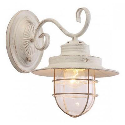 Светильник Arte lamp A4579AP-1WG LANTERNAКлассические<br><br><br>Тип лампы: Накаливания / энергосбережения / светодиодная<br>Тип цоколя: E27<br>Цвет арматуры: белый с золотистой патиной<br>Количество ламп: 1<br>Размеры: H27xW30xL30<br>MAX мощность ламп, Вт: 60