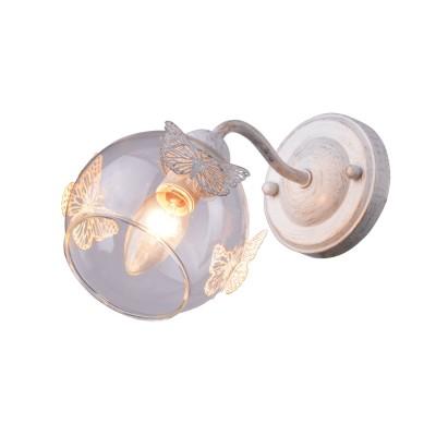 Светильник настенный Arte lamp A5004AP-1WG ALESSANDRAбра флористика и цветы<br><br><br>Тип цоколя: E14<br>Цвет арматуры: белый-ЗОЛОТОЙ<br>Количество ламп: 1<br>Диаметр, мм мм: 110<br>Размеры: D50<br>Длина, мм: 230<br>Высота, мм: 180<br>MAX мощность ламп, Вт: 40W<br>Общая мощность, Вт: 40W
