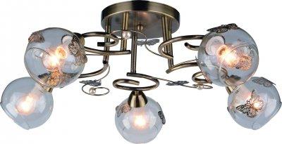Светильник Arte lamp A5004PL-5AB ALESSANDRAПотолочные<br>Компания «Светодом» предлагает широкий ассортимент люстр от известных производителей. Представленные в нашем каталоге товары выполнены из современных материалов и обладают отличным качеством. Благодаря широкому ассортименту Вы сможете найти у нас люстру под любой интерьер. Мы предлагаем как классические варианты, так и современные модели, отличающиеся лаконичностью и простотой форм.  Стильная люстра Arte lamp A5004PL-5AB станет украшением любого дома. Эта модель от известного производителя не оставит равнодушным ценителей красивых и оригинальных предметов интерьера. Люстра Arte lamp A5004PL-5AB обеспечит равномерное распределение света по всей комнате. При выборе обратите внимание на характеристики, позволяющие приобрести наиболее подходящую модель. Купить понравившуюся люстру по доступной цене Вы можете в интернет-магазине «Светодом».<br><br>Установка на натяжной потолок: Ограничено<br>S освещ. до, м2: 10<br>Крепление: Планка<br>Тип лампы: Накаливания / энергосбережения / светодиодная<br>Тип цоколя: E14<br>Количество ламп: 5<br>MAX мощность ламп, Вт: 40<br>Размеры: H28xW55xL55<br>Цвет арматуры: бронзовый