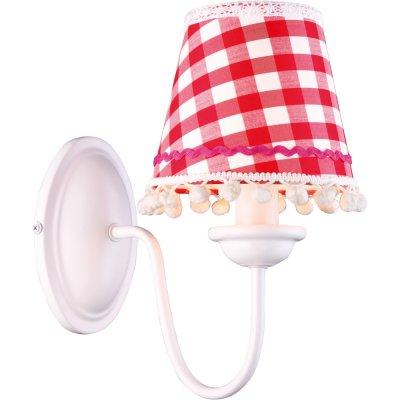 Светильник бра Arte lamp A5165AP-1WH ProvenceСовременные<br>Возбуждающий настенный светильник бра в красную клеточку Arte lamp A5165AP-1WH Provence окунает нас во французский стиль прованс.<br><br>S освещ. до, м2: 2<br>Тип лампы: накаливания / энергосбережения / LED-светодиодная<br>Тип цоколя: E14<br>Количество ламп: 1<br>Ширина, мм: 140<br>MAX мощность ламп, Вт: 40<br>Длина, мм: 250<br>Высота, мм: 260<br>Оттенок (цвет): белый<br>Цвет арматуры: белый