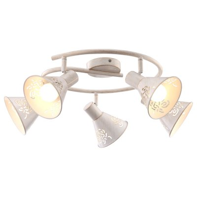 Светильник Arte lamp A5218PL-5WG ConoПоворотные<br>Компания «Светодом» предлагает широкий ассортимент люстр от известных производителей. Представленные в нашем каталоге товары выполнены из современных материалов и обладают отличным качеством. Благодаря широкому ассортименту Вы сможете найти у нас люстру под любой интерьер. Мы предлагаем как классические варианты, так и современные модели, отличающиеся лаконичностью и простотой форм.  Стильная люстра Arte lamp A5218PL-5WG станет украшением любого дома. Эта модель от известного производителя не оставит равнодушным ценителей красивых и оригинальных предметов интерьера. Люстра Arte lamp A5218PL-5WG обеспечит равномерное распределение света по всей комнате. При выборе обратите внимание на характеристики, позволяющие приобрести наиболее подходящую модель. Купить понравившуюся люстру по доступной цене Вы можете в интернет-магазине «Светодом».<br><br>Установка на натяжной потолок: Да<br>S освещ. до, м2: 10<br>Крепление: Планка<br>Тип лампы: накал-я - энергосбер-я<br>Тип цоколя: E14<br>Цвет арматуры: белый с золотистой патиной<br>Количество ламп: 5<br>Диаметр, мм мм: 650<br>Высота, мм: 220<br>MAX мощность ламп, Вт: 40