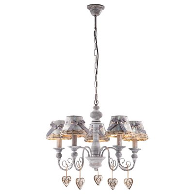 Люстра с бантиками Arte lamp A5290LM-5RI FattoriaПодвесные<br>Компания «Светодом» предлагает широкий ассортимент люстр от известных производителей. Представленные в нашем каталоге товары выполнены из современных материалов и обладают отличным качеством. Благодаря широкому ассортименту Вы сможете найти у нас люстру под любой интерьер. Мы предлагаем как классические варианты, так и современные модели, отличающиеся лаконичностью и простотой форм.  Стильная люстра Arte lamp A5290LM-5RI станет украшением любого дома. Эта модель от известного производителя не оставит равнодушным ценителей красивых и оригинальных предметов интерьера. Люстра Arte lamp A5290LM-5RI обеспечит равномерное распределение света по всей комнате. При выборе обратите внимание на характеристики, позволяющие приобрести наиболее подходящую модель. Купить понравившуюся люстру по доступной цене Вы можете в интернет-магазине «Светодом».<br><br>Установка на натяжной потолок: Да<br>S освещ. до, м2: 10<br>Крепление: Крюк<br>Тип лампы: Накаливания / энергосбережения / светодиодная<br>Тип цоколя: E14<br>Цвет арматуры: серый<br>Количество ламп: 5<br>Диаметр, мм мм: 580<br>Высота, мм: 450<br>MAX мощность ламп, Вт: 40