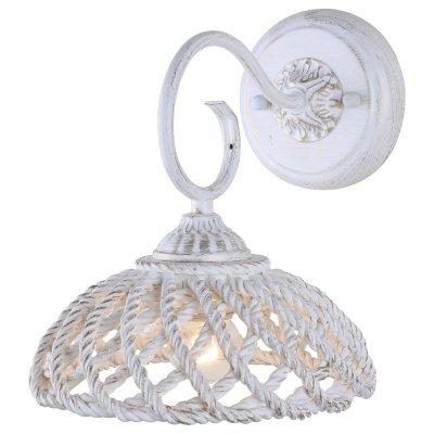 Светильник Arte lamp A5358AP-1WG Twistedклассические бра<br><br><br>Тип лампы: Накаливания / энергосбережения / светодиодная<br>Тип цоколя: E27<br>Цвет арматуры: белый с золотистой патиной<br>Количество ламп: 1<br>Ширина, мм: 210<br>Длина, мм: 250<br>Высота, мм: 240<br>MAX мощность ламп, Вт: 60