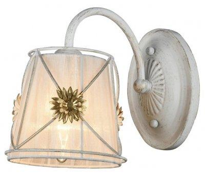 Светильник Arte lamp A5495AP-1WG FORTUNAКлассические<br><br><br>Тип лампы: Накаливания / энергосбережения / светодиодная<br>Тип цоколя: E27<br>Цвет арматуры: белый с золотистой патиной<br>Количество ламп: 1<br>Размеры: H20xW25xL25<br>MAX мощность ламп, Вт: 60