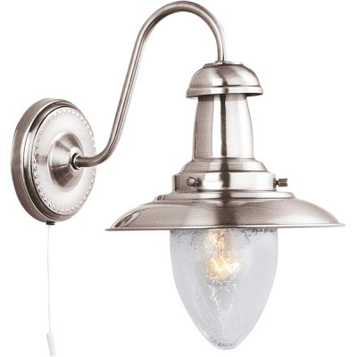 Светильник бра Arte Lamp A5518AP-1SS FishermanМорской стиль<br><br><br>S освещ. до, м2: 4<br>Тип лампы: накаливания / энергосбережения / LED-светодиодная<br>Тип цоколя: E27<br>Количество ламп: 1<br>Ширина, мм: 180<br>MAX мощность ламп, Вт: 60<br>Диаметр, мм мм: 250<br>Высота, мм: 260<br>Цвет арматуры: серый