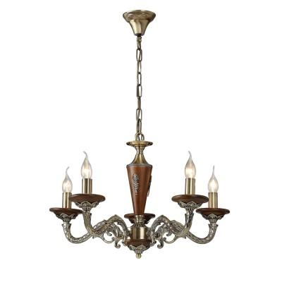A5603LM-5AB Arte lamp СветильникПодвесные<br><br><br>Установка на натяжной потолок: Да<br>S освещ. до, м2: 15<br>Крепление: крюк<br>Тип лампы: Накаливания / энергосбережения / светодиодная<br>Тип цоколя: E14<br>Количество ламп: 5<br>MAX мощность ламп, Вт: 60W<br>Диаметр, мм мм: 610<br>Длина цепи/провода, мм: 600<br>Размеры: D610H350-1000<br>Длина, мм: 610<br>Высота, мм: 350<br>Цвет арматуры: античный бронзовый<br>Общая мощность, Вт: 40W