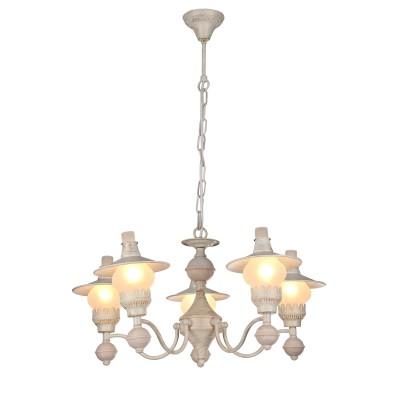 A5664LM-5WG Arte lamp СветильникПодвесные<br><br><br>Установка на натяжной потолок: Да<br>S освещ. до, м2: 15<br>Крепление: крюк<br>Тип лампы: Накаливания / энергосбережения / светодиодная<br>Тип цоколя: E14<br>Цвет арматуры: белый-ЗОЛОТОЙ<br>Количество ламп: 5<br>Диаметр, мм мм: 660<br>Длина цепи/провода, мм: 600<br>Размеры: D660H350-950<br>Длина, мм: 660<br>Высота, мм: 350<br>MAX мощность ламп, Вт: 60W<br>Общая мощность, Вт: 40W