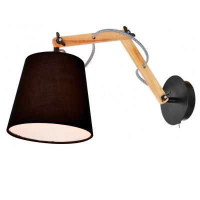 Светильник бра на штанге бра Arte lamp A5700AP-1BK PinoccioНа штанге<br><br><br>S освещ. до, м2: 2<br>Тип лампы: накаливания / энергосбережения / LED-светодиодная<br>Тип цоколя: E14<br>Количество ламп: 1<br>Ширина, мм: 170<br>MAX мощность ламп, Вт: 40<br>Длина, мм: 560<br>Высота, мм: 350<br>Оттенок (цвет): коричневый<br>Цвет арматуры: черный