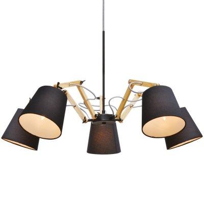 Подвесная люстра Arte lamp A5700LM-5BK Pinoccioлюстры поворотные<br>Компания «Светодом» предлагает широкий ассортимент люстр от известных производителей. Представленные в нашем каталоге товары выполнены из современных материалов и обладают отличным качеством. Благодаря широкому ассортименту Вы сможете найти у нас люстру под любой интерьер. Мы предлагаем как классические варианты, так и современные модели, отличающиеся лаконичностью и простотой форм.  Стильная люстра Arte lamp A5700LM-5BK станет украшением любого дома. Эта модель от известного производителя не оставит равнодушным ценителей красивых и оригинальных предметов интерьера. Люстра Arte lamp A5700LM-5BK обеспечит равномерное распределение света по всей комнате. При выборе обратите внимание на характеристики, позволяющие приобрести наиболее подходящую модель.  Купить понравившуюся люстру по доступной цене Вы можете в интернет-магазине «Светодом».<br><br>Установка на натяжной потолок: Да<br>S освещ. до, м2: 10<br>Крепление: Планка<br>Тип лампы: накаливания / энергосбережения / LED-светодиодная<br>Тип цоколя: E14<br>Цвет арматуры: черный<br>Количество ламп: 5<br>Диаметр, мм мм: 800<br>Длина цепи/провода, мм: 640<br>Высота, мм: 560<br>Оттенок (цвет): коричневый<br>MAX мощность ламп, Вт: 40