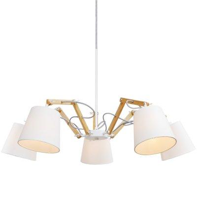 Подвесная люстра Arte lamp A5700LM-5WH PinoccioПоворотные<br>Компания «Светодом» предлагает широкий ассортимент люстр от известных производителей. Представленные в нашем каталоге товары выполнены из современных материалов и обладают отличным качеством. Благодаря широкому ассортименту Вы сможете найти у нас люстру под любой интерьер. Мы предлагаем как классические варианты, так и современные модели, отличающиеся лаконичностью и простотой форм. <br>Стильная люстра Arte lamp A5700LM-5WH станет украшением любого дома. Эта модель от известного производителя не оставит равнодушным ценителей красивых и оригинальных предметов интерьера. Люстра Arte lamp A5700LM-5WH обеспечит равномерное распределение света по всей комнате. При выборе обратите внимание на характеристики, позволяющие приобрести наиболее подходящую модель. <br>Купить понравившуюся люстру по доступной цене Вы можете в интернет-магазине «Светодом».<br><br>Установка на натяжной потолок: Да<br>S освещ. до, м2: 10<br>Крепление: Планка<br>Тип лампы: накаливания / энергосбережения / LED-светодиодная<br>Тип цоколя: E14<br>Количество ламп: 5<br>MAX мощность ламп, Вт: 40<br>Диаметр, мм мм: 800<br>Длина цепи/провода, мм: 640<br>Высота, мм: 560<br>Оттенок (цвет): белый<br>Цвет арматуры: белый