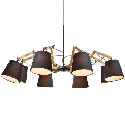 Подвесная люстра Arte lamp A5700LM-8BK PinoccioПоворотные<br><br><br>Установка на натяжной потолок: Да<br>S освещ. до, м2: 16<br>Крепление: Планка<br>Тип товара: Люстра<br>Тип лампы: накаливания / энергосбережения / LED-светодиодная<br>Тип цоколя: E14<br>Количество ламп: 8<br>MAX мощность ламп, Вт: 40<br>Диаметр, мм мм: 950<br>Длина цепи/провода, мм: 640<br>Высота, мм: 560<br>Оттенок (цвет): коричневый<br>Цвет арматуры: черный