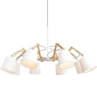 Подвесная люстра Arte lamp A5700LM-8WH PinoccioПоворотные<br><br><br>Установка на натяжной потолок: Да<br>S освещ. до, м2: 16<br>Крепление: Планка<br>Тип товара: Люстра<br>Тип лампы: накаливания / энергосбережения / LED-светодиодная<br>Тип цоколя: E14<br>Количество ламп: 8<br>MAX мощность ламп, Вт: 40<br>Диаметр, мм мм: 950<br>Длина цепи/провода, мм: 640<br>Высота, мм: 560<br>Оттенок (цвет): белый<br>Цвет арматуры: белый