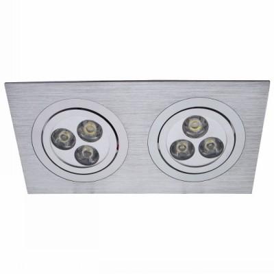 Светильник встраиваемый Arte lamp A5902PL-2SS Technikaснятые с производства светильники<br><br><br>S освещ. до, м2: 1<br>Тип лампы: LED-светодиодная<br>Тип цоколя: LED<br>Цвет арматуры: никель матовый/алюминий<br>Количество ламп: 2<br>Ширина, мм: 175<br>Диаметр, мм мм: 92<br>Диаметр врезного отверстия, мм: 160*80<br>Длина, мм: 175<br>Высота, мм: 65<br>MAX мощность ламп, Вт: 3