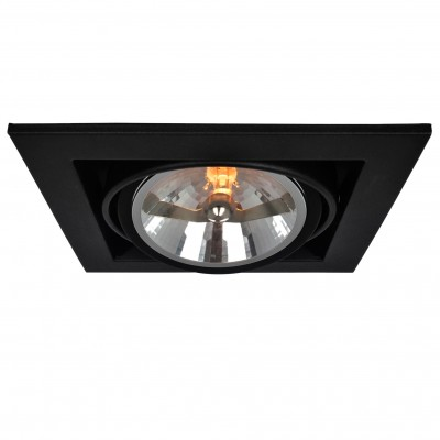 Светильник потолочный Arte lamp A5935PL-1BK CARDANIКарданные<br><br><br>Тип цоколя: G53/AR111<br>Количество ламп: 1<br>MAX мощность ламп, Вт: 50<br>Размеры: H13,2xW19,6xL19,6<br>Цвет арматуры: черный