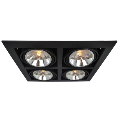 Светильник потолочный Arte lamp A5935PL-4BK CARDANIКарданные<br><br><br>Тип цоколя: G53/AR111<br>Цвет арматуры: черный<br>Количество ламп: 4<br>Размеры: H14xW37,2xL37,8<br>MAX мощность ламп, Вт: 50