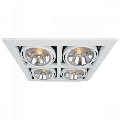 Светильник потолочный Arte lamp A5935PL-4WH CARDANIКарданные<br><br><br>Тип цоколя: G53/AR111<br>Цвет арматуры: белый<br>Количество ламп: 4<br>Размеры: H14xW37,2xL37,8<br>MAX мощность ламп, Вт: 50