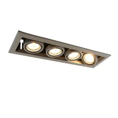 A5941PL-4GY Arte lamp СветильникКарданные<br><br><br>Тип лампы: галогенная/LED<br>Тип цоколя: GU10<br>Количество ламп: 4<br>MAX мощность ламп, Вт: 50W<br>Диаметр, мм мм: 130<br>Размеры: 44x13x8<br>Диаметр врезного отверстия, мм: 40,5x10,3<br>Длина, мм: 440<br>Высота, мм: 80<br>Цвет арматуры: СЕРЫЙ