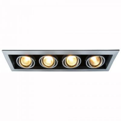 Светильник потолочный Arte lamp A5941PL-4SI CARDANIКарданные<br><br><br>Тип цоколя: GU10<br>Количество ламп: 4<br>MAX мощность ламп, Вт: 50<br>Размеры: H7xW12,6xL43,3<br>Цвет арматуры: серебро