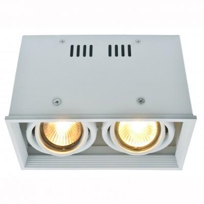Светильник потолочный Arte lamp A5942PL-2WH CARDANIКарданные<br><br><br>Тип цоколя: GU10<br>Количество ламп: 2<br>MAX мощность ламп, Вт: 50<br>Размеры: H12xW10xL18,4<br>Цвет арматуры: белый