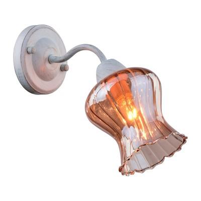 Светильник настенный бра Arte lamp A6098AP-1WG CHIARAСовременные<br><br><br>Тип лампы: Накаливания / энергосбережения / светодиодная<br>Тип цоколя: E14<br>Количество ламп: 1<br>MAX мощность ламп, Вт: 40<br>Размеры: H21xW26xL11<br>Цвет арматуры: белый с золотистой патиной