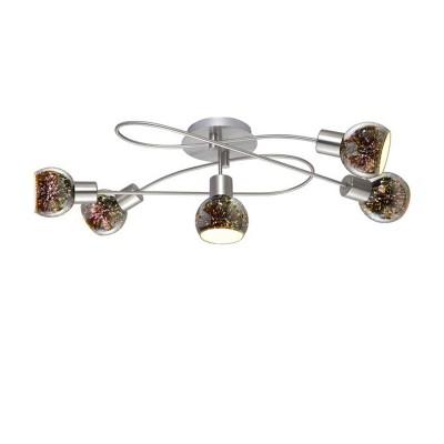 Светильник потолочный Arte lamp A6125PL-5SS Illusioneсовременные потолочные люстры модерн<br><br><br>Установка на натяжной потолок: Да<br>S освещ. до, м2: 10<br>Тип цоколя: E14<br>Цвет арматуры: Серебристый матовый<br>Количество ламп: 5<br>Диаметр, мм мм: 360<br>Длина, мм: 750<br>Высота, мм: 230<br>MAX мощность ламп, Вт: 40W<br>Общая мощность, Вт: 40W