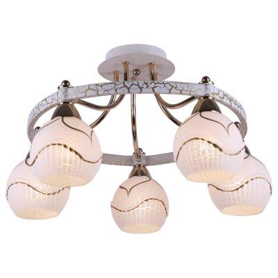 Люстра Arte lamp A6173PL-5WG DaniellaПотолочные<br>Отличную модель светильника Arte lamp A6173PL-5WG из серии DANIELLA производства Италии возможно купить оптом и в розницу на официальном сайте интернет-магазина Светодом.<br><br>Установка на натяжной потолок: Да<br>S освещ. до, м2: 20<br>Крепление: Планка<br>Тип лампы: накаливания / энергосбережения / LED-светодиодная<br>Тип цоколя: E14<br>Цвет арматуры: белый с золотистой патиной<br>Количество ламп: 5<br>Диаметр, мм мм: 510<br>Высота, мм: 300<br>MAX мощность ламп, Вт: 60
