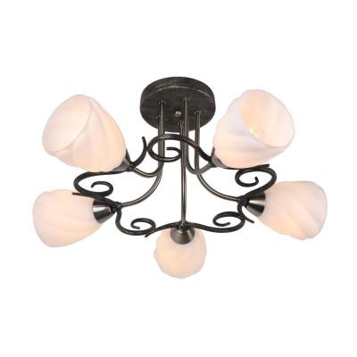 Светильник Arte lamp A6253PL-5BA SwirlsПотолочные<br>Компания «Светодом» предлагает широкий ассортимент люстр от известных производителей. Представленные в нашем каталоге товары выполнены из современных материалов и обладают отличным качеством. Благодаря широкому ассортименту Вы сможете найти у нас люстру под любой интерьер. Мы предлагаем как классические варианты, так и современные модели, отличающиеся лаконичностью и простотой форм. <br>Стильная люстра Arte lamp A6253PL-5BA станет украшением любого дома. Эта модель от известного производителя не оставит равнодушным ценителей красивых и оригинальных предметов интерьера. Люстра Arte lamp A6253PL-5BA обеспечит равномерное распределение света по всей комнате. При выборе обратите внимание на характеристики, позволяющие приобрести наиболее подходящую модель. <br>Купить понравившуюся люстру по доступной цене Вы можете в интернет-магазине «Светодом».<br><br>Установка на натяжной потолок: Да<br>S освещ. до, м2: 10<br>Крепление: Планка<br>Тип лампы: накал-я - энергосбер-я<br>Тип цоколя: E14<br>Количество ламп: 5<br>MAX мощность ламп, Вт: 40<br>Диаметр, мм мм: 550<br>Высота, мм: 260<br>Цвет арматуры: черный