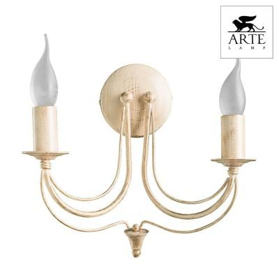 Светильник настенный бра Arte lamp A6301AP-2WG MAYTONEсовременные бра модерн<br><br><br>Тип цоколя: E14<br>Цвет арматуры: белый с золотистой патиной<br>Количество ламп: 2<br>Размеры: H20xW23xL23<br>MAX мощность ламп, Вт: 40