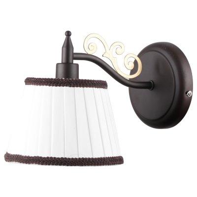 Светильник Arte lamp A6344AP-1BR Capriклассические бра<br><br><br>Тип лампы: Накаливания / энергосбережения / светодиодная<br>Тип цоколя: E14<br>Цвет арматуры: коричневый<br>Количество ламп: 1<br>Ширина, мм: 240<br>Длина, мм: 150<br>Высота, мм: 180<br>MAX мощность ламп, Вт: 40