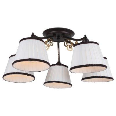 Светильник Arte lamp A6344PL-5BR CapriПотолочные<br>Компания «Светодом» предлагает широкий ассортимент люстр от известных производителей. Представленные в нашем каталоге товары выполнены из современных материалов и обладают отличным качеством. Благодаря широкому ассортименту Вы сможете найти у нас люстру под любой интерьер. Мы предлагаем как классические варианты, так и современные модели, отличающиеся лаконичностью и простотой форм.  Стильная люстра Arte lamp A6344PL-5BR станет украшением любого дома. Эта модель от известного производителя не оставит равнодушным ценителей красивых и оригинальных предметов интерьера. Люстра Arte lamp A6344PL-5BR обеспечит равномерное распределение света по всей комнате. При выборе обратите внимание на характеристики, позволяющие приобрести наиболее подходящую модель. Купить понравившуюся люстру по доступной цене Вы можете в интернет-магазине «Светодом».<br><br>Установка на натяжной потолок: Да<br>S освещ. до, м2: 10<br>Крепление: Планка<br>Тип лампы: Накаливания / энергосбережения / светодиодная<br>Тип цоколя: E14<br>Количество ламп: 5<br>MAX мощность ламп, Вт: 40<br>Диаметр, мм мм: 550<br>Высота, мм: 230<br>Цвет арматуры: коричневый
