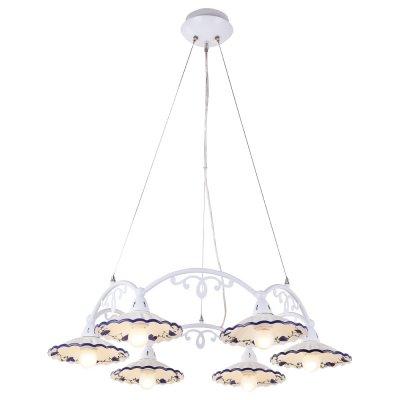 Люстра Arte lamp A6473LM-6WH AnnaПодвесные<br><br><br>Установка на натяжной потолок: Да<br>S освещ. до, м2: 16<br>Крепление: Планка<br>Тип товара: Люстра подвесная<br>Скидка, %: 44<br>Тип лампы: накаливания / энергосбережения / LED-светодиодная<br>Тип цоколя: E27<br>Количество ламп: 6<br>Ширина, мм: 750<br>MAX мощность ламп, Вт: 40<br>Диаметр, мм мм: 750<br>Длина цепи/провода, мм: 680<br>Высота, мм: 190