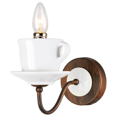 Светильник бра чашка Arte lamp A6483AP-1WH ServizioСовременные<br><br><br>Тип лампы: Накаливания / энергосбережения / светодиодная<br>Тип цоколя: E14<br>Цвет арматуры: черный<br>Количество ламп: 1<br>Ширина, мм: 130<br>Длина, мм: 260<br>Высота, мм: 180<br>MAX мощность ламп, Вт: 40