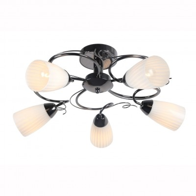 Светильник потолочный Arte lamp A6545PL-5BC ALESSIAПотолочные<br>Компания «Светодом» предлагает широкий ассортимент люстр от известных производителей. Представленные в нашем каталоге товары выполнены из современных материалов и обладают отличным качеством. Благодаря широкому ассортименту Вы сможете найти у нас люстру под любой интерьер. Мы предлагаем как классические варианты, так и современные модели, отличающиеся лаконичностью и простотой форм.  Стильная люстра Arte lamp A6545PL-5BC станет украшением любого дома. Эта модель от известного производителя не оставит равнодушным ценителей красивых и оригинальных предметов интерьера. Люстра Arte lamp A6545PL-5BC обеспечит равномерное распределение света по всей комнате. При выборе обратите внимание на характеристики, позволяющие приобрести наиболее подходящую модель. Купить понравившуюся люстру по доступной цене Вы можете в интернет-магазине «Светодом».<br><br>S освещ. до, м2: 10<br>Тип цоколя: E14<br>Количество ламп: 5<br>MAX мощность ламп, Вт: 40<br>Размеры: H28xW56xL56<br>Цвет арматуры: черный