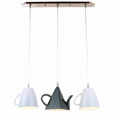 Светильник чайник-кружки Arte lamp A6604SP-3WH BrooklynТройные<br>Светильник подвесной в виде чайника черного цвета и кружек белого цвета отлично впишется как в обеденную зону, так и на террсу ил же подойдет для ресторана и кафе.<br><br>S освещ. до, м2: 8<br>Тип лампы: накаливания / энергосбережения / LED-светодиодная<br>Тип цоколя: E14<br>Количество ламп: 3<br>Ширина, мм: 670<br>Длина цепи/провода, мм: 1000<br>Высота, мм: 210<br>MAX мощность ламп, Вт: 40
